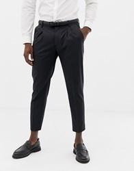 United Colors Of Benetton Slim Fit Mini Dot Pleat Front Charcoal Suit Trousers Charcoal Grey