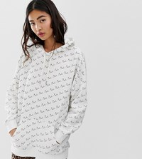 Monki Text Print Oversized Hoodie In Off White