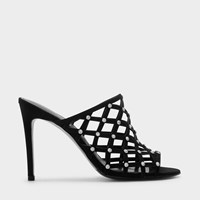 Charles And Keith Embellished Cage Mules Black