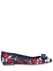 Salvatore Ferragamo Varina Embroidered Denim Ballerina Flats