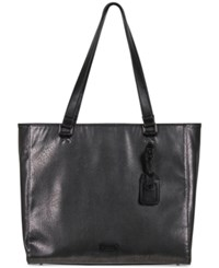 Kenneth Cole Reaction Tote Ally Silver Faux Leather Tote Charcoal