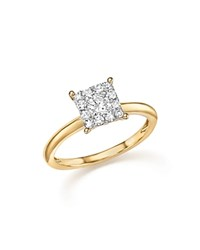 Bloomingdale's Diamond Cluster Ring In 14K Yellow Gold .50 Ct. T.W. White Gold