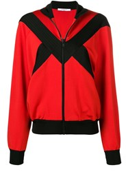 Givenchy Contrast Panel Zipped Jacket Red