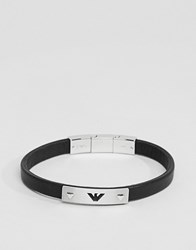 Emporio Armani Leather Eagle Bracelet In Black Silver Steel