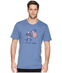 Life Is Good God Bless America Crusher Tee Heather Vintage Blue T Shirt