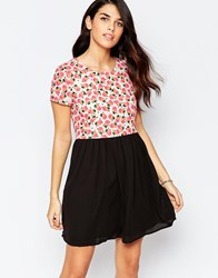 Sugarhill Boutique Dress In Pear Print With Contrast Skirt Cream