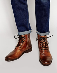Selected Homme Leather Boots Tan