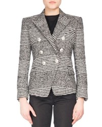 Balmain Classic Plaid Tweed Jacket Black White Black White