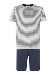 Linea T Shirt And Shorts Loungewear Pyjama Set Navy