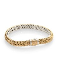 John Hardy 18K Yellow Gold And Sterling Silver Reversible Woven Chain Bracelet
