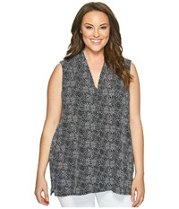 Vince Camuto Specialty Size Plus Sleeveless Delicate Pebbles V Neck Top With Chiffon Seam Rich Black Women's Sleeveless