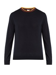 Paul Smith Striped Collar Wool Sweater Navy