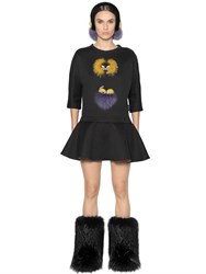 Fendi Fox Fur Monster Jersey Dress