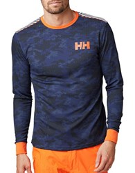 Helly Hansen Active Flow Graphic Baselayer Tee Evening Blue