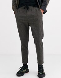 Only And Sons Textured Smart Jersey Trousers In Grey