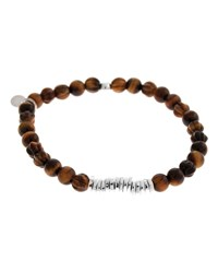 Men's Tiger Eye Bead Bracelet Silver Tateossian