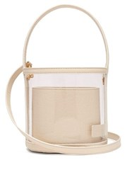 Staud Bissett Pvc And Leather Bucket Bag Cream