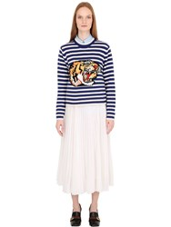 Gucci Tiger Jacquard Striped Wool Sweater
