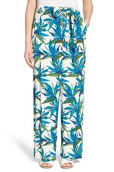 Ella Moss Tropical Print Tie Waist Pants Blue