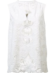 Sea Macrame Embroidered Blouse White