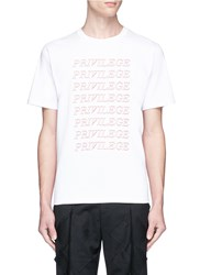 The World Is Your Oyster 'Privilege' Slogan Print Cotton T Shirt White