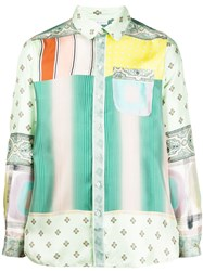 Pierre Louis Mascia Long Sleeve Patchwork Shirt Green