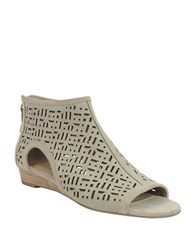 Tahari Candy Leather Peep Toe Demi Wedge Sandals Taupe