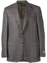 Canali Faded Plaid Blazer Grey