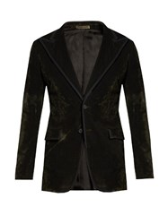Bottega Veneta Single Breasted Bushed Velvet Blazer Dark Green
