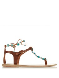 Ancient Greek Sandals Chrysso Leather Sandals Brown Multi