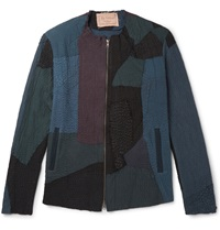 By Walid Liam Textured Cotton Jacket Blue