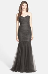 Women's Amsale Strapless Tulle Mermaid Gown Charcoal
