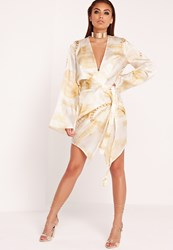 Missguided Dollar Print Kimono Wrap Dress Gold Multi