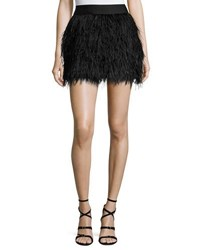 Milly Feather Mini Skirt Black
