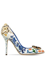 Dolce And Gabbana 90Mm Bellucci Patent Leather Pumps White Blue