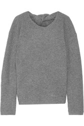 Theory Twylina Split Back Ribbed Cashmere Sweater Gray