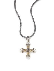 Konstantino Classic 4Mm 5Mm White Pearl 18K Yellow Gold And Sterling Silver Small Maltese Cross Pendant Silver Gold