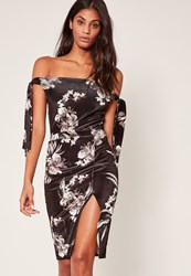 Missguided Black Floral Velvet Split Front Wrap Midi Skirt
