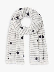 Joules Corin Star And Stripe Scarf Cream Navy