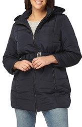 Evans Plus Size Women's Belted Quilted Jacket Navy