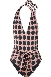 Stella Mccartney Ballet Dots Tie Front Printed Halterneck Swimsuit Blush