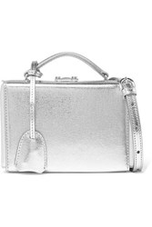 Mark Cross Grace Small Metallic Cracked Leather Shoulder Bag Silver