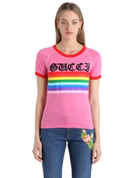 Gucci Printed Cotton Jersey T Shirt W Sequins