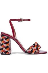 Red V Sequined Canvas And Patent Leather Sandals Claret