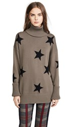Chrldr Falling Stars Turtleneck Sweater Olive Grey