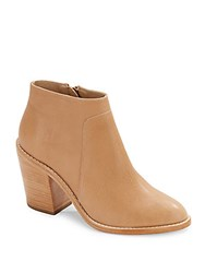 Loeffler Randall Ella Almond Toe Leather Ankle Boots Beige
