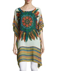 Neiman Marcus Feather Print Short Sleeve Tunic White Multi