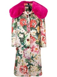 Dolce And Gabbana Jacquard Single Breasted Coat Pink