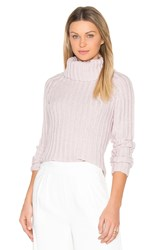 Brown Allan Ribbed Turtleneck Sweater Pink