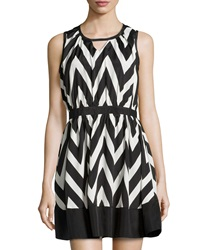 Neiman Marcus Cutout Chevron Sleeveless Dress Black White